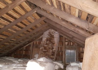 """""""Curved"""" chimney in this 1770 house. while chimney is functional, it was curved to prevent 'ghosts' from entering the house."""