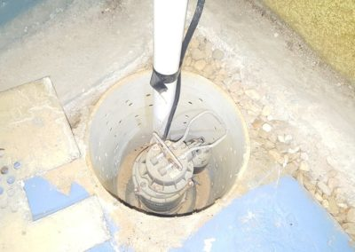 Sewage ejection pump cannot be tested because it's connected to a perimeter drain that would need to be filled with water also. impractical